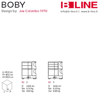 B-LINE BOBY 22, Rollcontainer rot